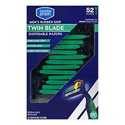 Berkley Jensen Rubber Grip Twin Blade Disposable Razor, 52 ct.