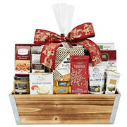 Wine Country Sweet and Savory Wooden Gift Basket