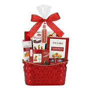 Wine Country Metal Gift Basket, Red