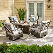 Berkley Jensen Windsor 5PC Aluminum  Fire Chat Set Set with Swivel Club Chairs