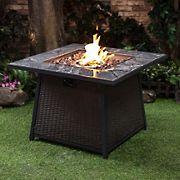 """Berkley Jensen 35"""" Wicker Gas Fire Table with Cover"""