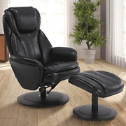EuroRecline Noreen Faux Leather Recliner - Black