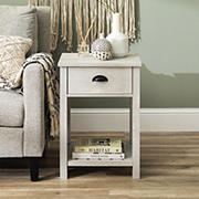 "W. Trends Country 18"" Single Drawer Side Table - Stone Gray"