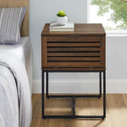 "W. Trends Jackson 18"" Modern Slat Door Side Table - Dark Walnut"
