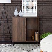 """W. Trends Nora 30"""" One Door Modern Wood Accent Cabinet - Dark Walnut"""