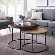 "W. Trends Pamela 30"" Two-Tone Nesting Coffee Tables - Dark Walnut/English Oak"