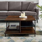 "W. Trends Zane 30"" Contemporary Metal and Wood Square Coffee Table - Dark Walnut"