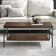 "W. Trends 42"" Modern Hammock Shelf Coffee Table - Dark Walnut"