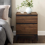 "W. Trends Elroy 20"" Two Drawer Urban Side Table - Dark Walnut"