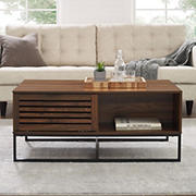"W. Trends Jackson 42"" Modern Slat Door Coffee Table - Dark Walnut"