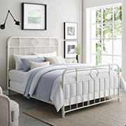 W. Trends Antiqua Metal Pipe Queen Size Bed - Antique White