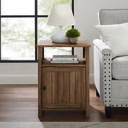 "W. Trends Craig 18"" Grooved Door Side Table - Reclaimed Barnwood"