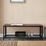 """W. Trends 48"""" Industrial Angle Iron Entry Bench with Shelf - Dark Walnut"""