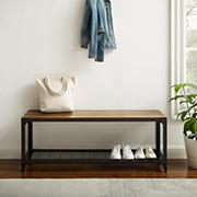 """W. Trends 48"""" Industrial Angle Iron Entry Bench with Shelf - Reclaimed Barnwood"""