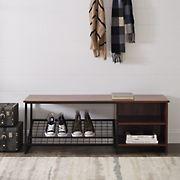 "W. Trends Clayton 48"" Industrial Entry Bench with Shoe Storage - Dark Walnut"