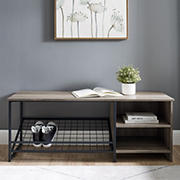 """W. Trends Clayton 48"""" Industrial Entry Bench with Shoe Storage - Grey Wash"""