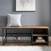 """W. Trends Clayton 48"""" Industrial Entry Bench with Shoe Storage - Reclaimed Barnwood"""