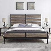 W. Trends King Size Industrial Slat Bed - Grey Wash