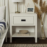 W. Trends Lydia 1 Drawer Classic Solid Wood Nightstand - White