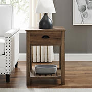 """W. Trends Country 18"""" Single Drawer Side Table - Reclaimed Barnwood"""