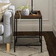 "W. Trends Emma 18"" Square Tray Side Table with Mesh Metal Shelf - Dark Walnut"
