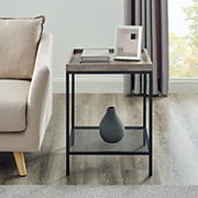 """W. Trends Emma 18"""" Square Tray Side Table with Mesh Metal Shelf - Gray Wash"""