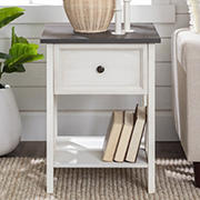 "W. Trends Natalee 19"" One Drawer Wood Side Table - Gray/White Wash"