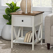 """W. Trends Natalee 19"""" One Drawer Wood Side Table - Reclaimed Barnwood/White Wash"""