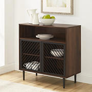 "W. Trends Keegan 32"" Modern Slanted Metal Door Accent Cabinet - Dark Walnut"