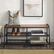 """W. Trends Arlo 42"""" Industrial Metal and Wood Entry Bench with Shoe Rack - Dark Walnut"""