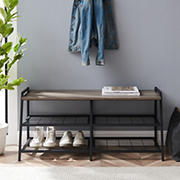 """W. Trends Arlo 42"""" Industrial Metal and Wood Entry Bench with Shoe Rack - Gray Wash"""