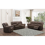 Abbyson Living Gordon Fabric Reclining Sofa Set - Brown