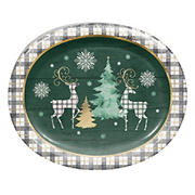 "Artstyle 'Cozy Lodge' Holiday 10""x12"" Oval Paper Plates, 35 ct."
