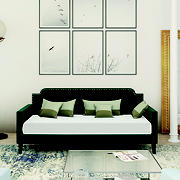 Muirhead Upholstered Twin Size Rounded Back Daybed - Emerald Green Velvet