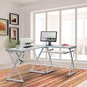 Techni Mobili L-Shape Glass Desk - Glass