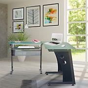 Techni Mobili L-Ship Glass Top Computer Desk - Graphite