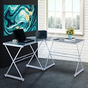 Techni Mobili L-Shaped Glass Desk - White