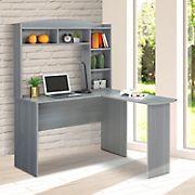 Techni Mobili L-Shaped Desk with Hutch - Gray