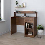 Techni Mobili Modern Office Desk with Hutch - Oak