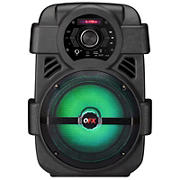 "QFX 8"" Rechargeable Party Speaker with Bluetooth, FM Radio, Party Lights, and Big Sound"