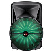 "QFX 15"" Rechargeable Bluetooth Portable Party Speaker with App Control RGB Light and Microphone"