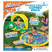 BANZAI 2-In-1 Combo Sprinkler 'N Splash Play Mat and Shady Time Turtle Pool for Kids