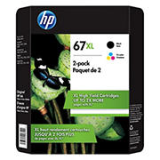 HP 67XL Combo Color/Blank Ink Cartridges, 2 pk.