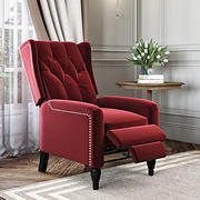 ProLounger Wingback Velvet Pushback Recliner - Ruby Red Velvet