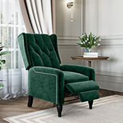 ProLounger Wingback Velvet Pushback Recliner - Emerald Green