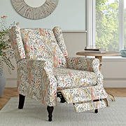 ProLounger Wingback Pushback Recliner - Coral Red Multi-Paisley