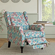 ProLounger Wingback Pushback Recliner - Fuchsia Pink Multi-Floral