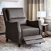 ProLounger Velvet Distressed Faux Leather Pushback Recliner - Fog Gray