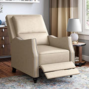 ProLounger Velvet Distressed Faux Leather Pushback Recliner - Latte Tan