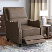 ProLounger Velvet Distressed Faux Leather Pushback Recliner - Saddle Brown